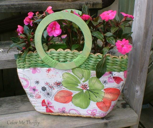 repurposed summer purse planter