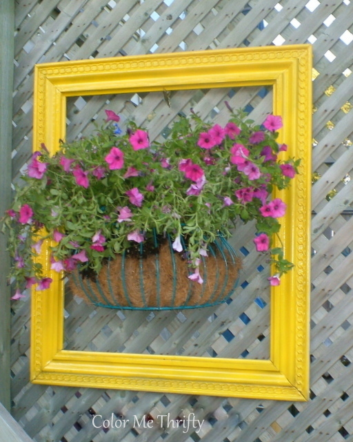 wall flower planter and yellow spray painted frame
