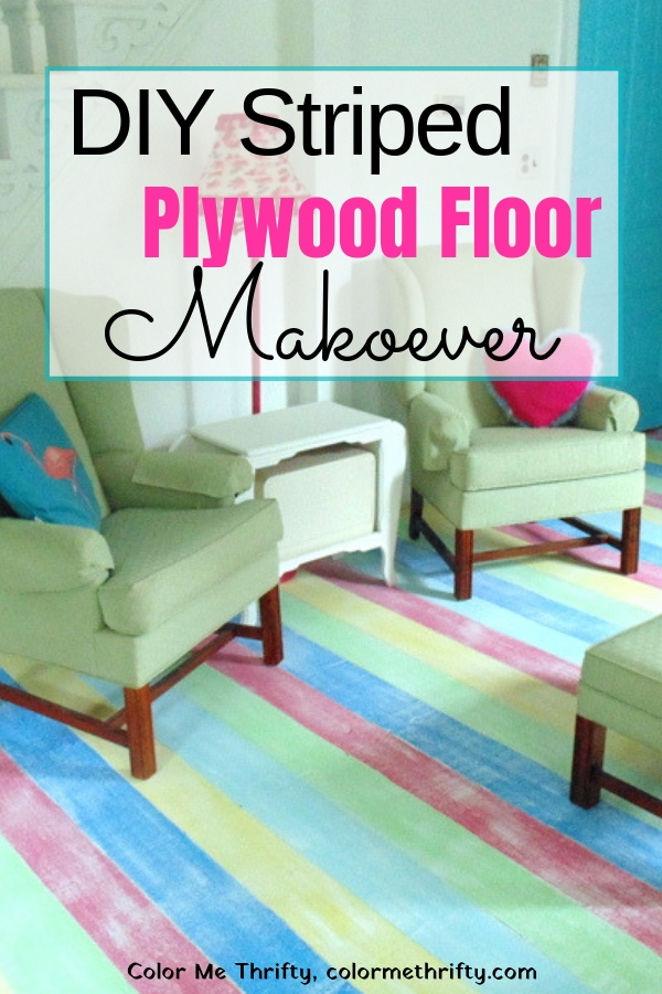 DIY Painted Stripes and Dry Brushed Plywood Floor Makeover