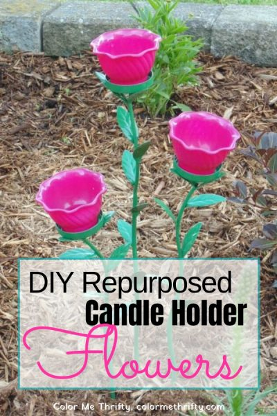 DIY Repurposed Candle Holder and Jello Mold Garden Art Flowers