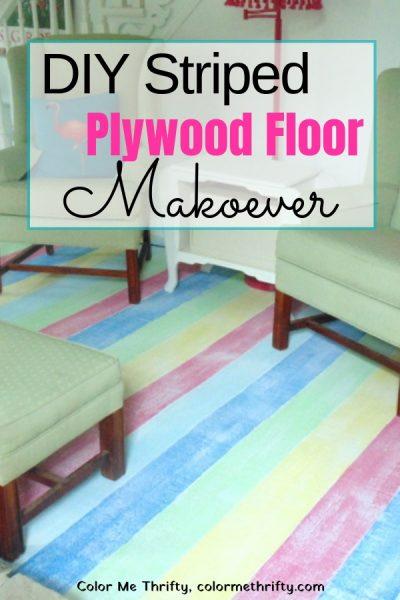 DIY Striped Plywood Floor Makeover