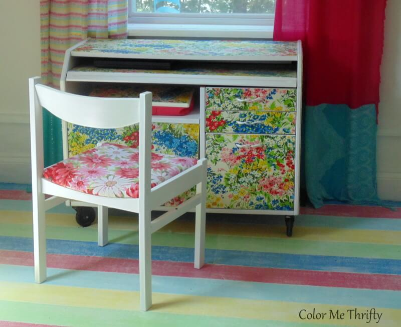 Wooden chair makeover with fabric and paint