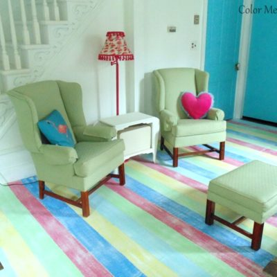 DIY Striped Plywood Floor Makeover