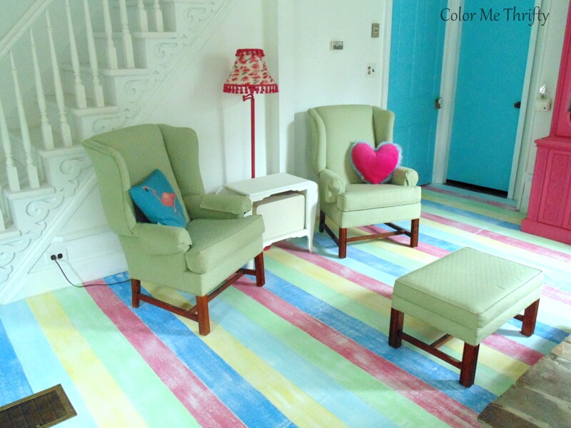 painted striped living room floor after white dry brushing