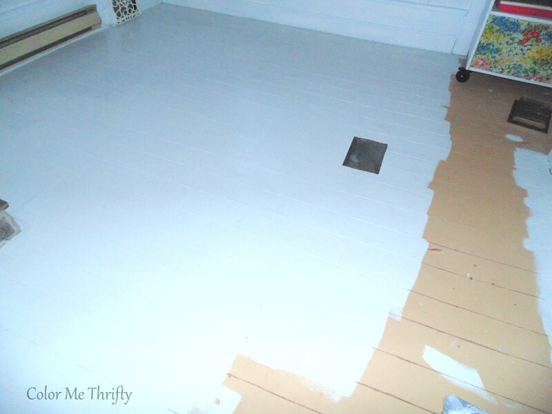 painting living room floor white
