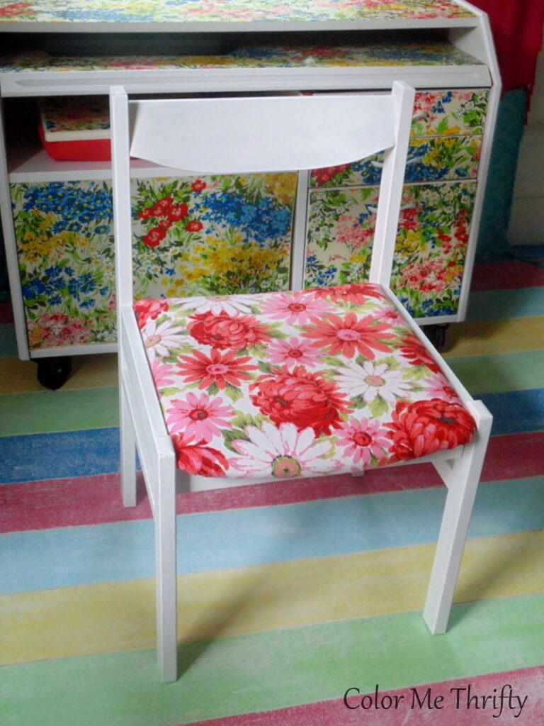 recovered chair seat with fabric floral tablecloth