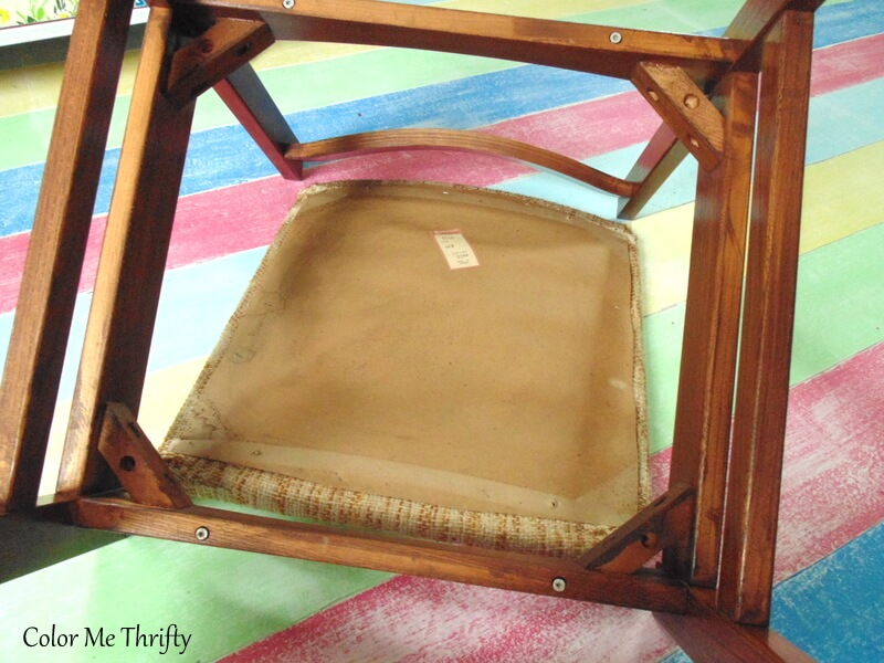 removing screws holding fabric seat on vintage wooden chair 2