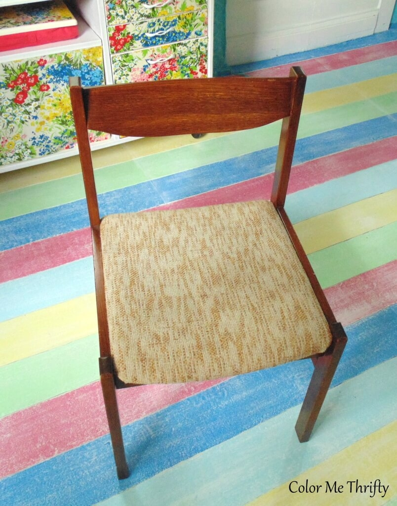 vintage wooden chair with removable fabric seat cushion