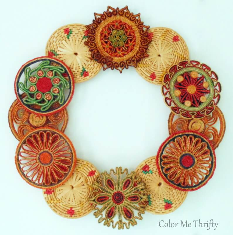 Repurposed vintage wicker trivet wreath