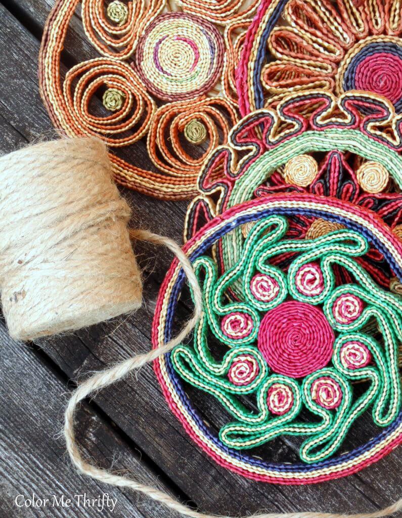 vintage straw trivet wreath supplies