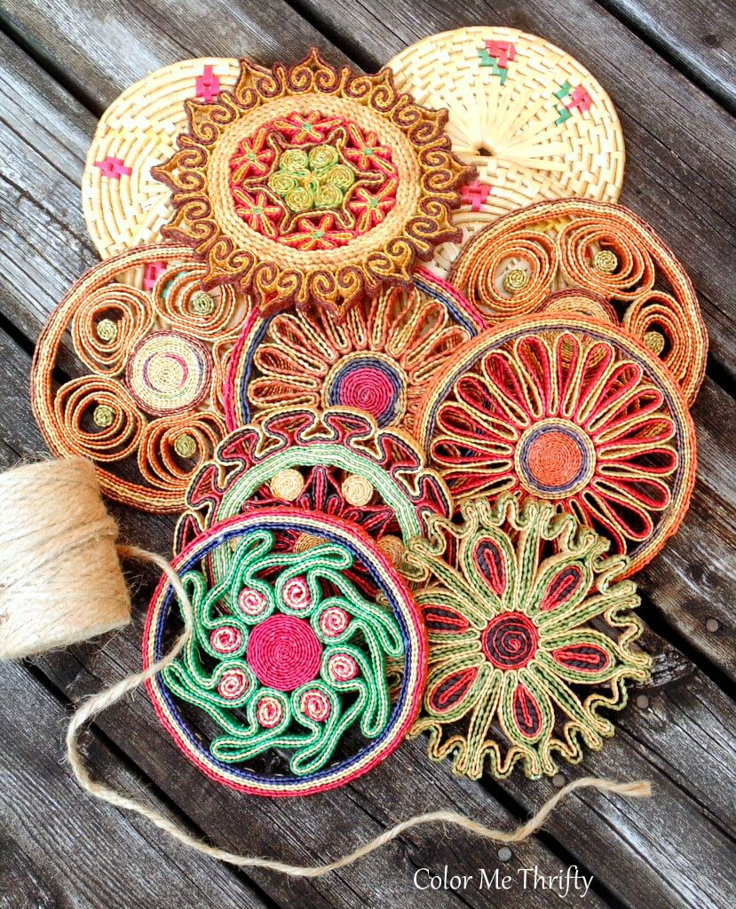 vintage straw trivets repurposed into a wreath