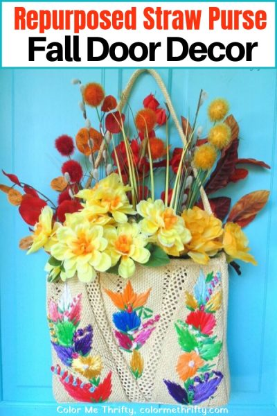 Quick and Easy Repurposed Straw Purse Fall Door Decor