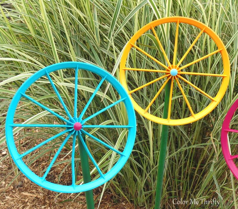 blue and yellow spray painted wheel flowers