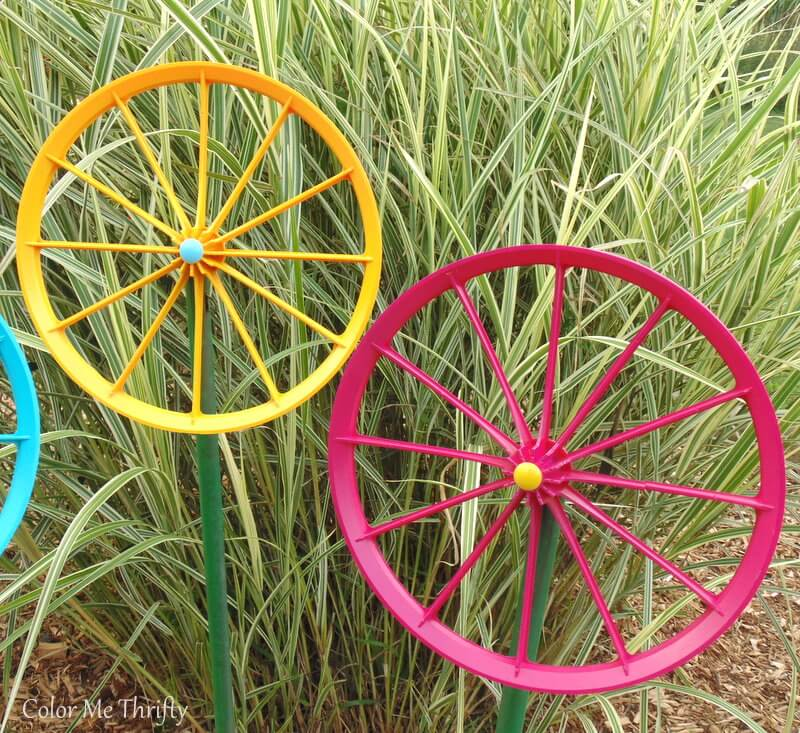 pink and yellow spray painted wheel flowers