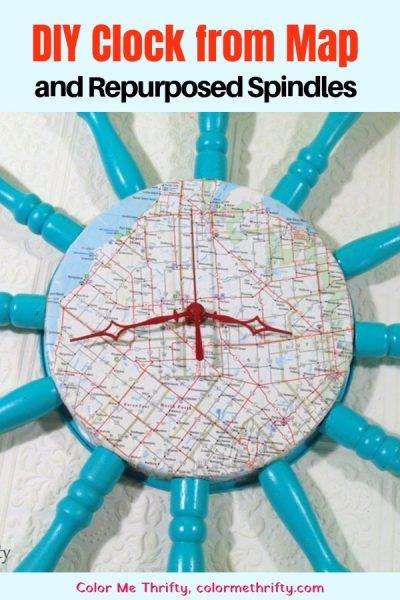 Create a DIY map clock using repurposed spindles