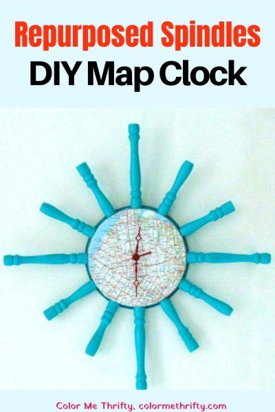 Create a DIY map clock using repurposed spindles and baking pan