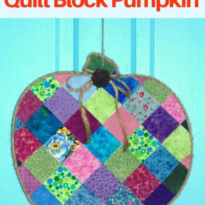 DIY Decoupaged Quilt Block Pumpkin