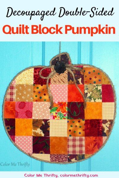Decoupaged Fabric Quilt Block Pumpkin
