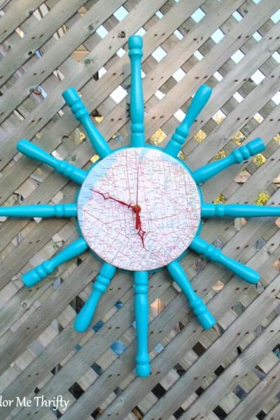 Repurposed spindles diy map clock