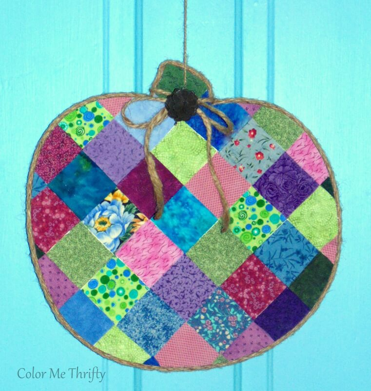 diy quilt block pumpkin in fun colors