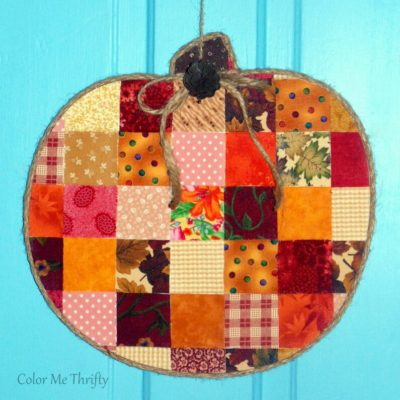 Decoupaged Quilt Block Pumpkin