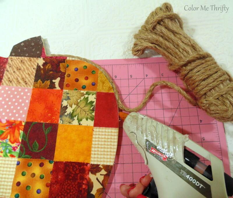 gluing jute rope to frame quilt block pumpkin