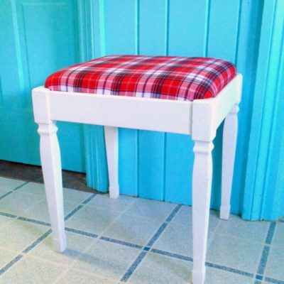 Bench Makeover from Repurposed Plaid Shirt
