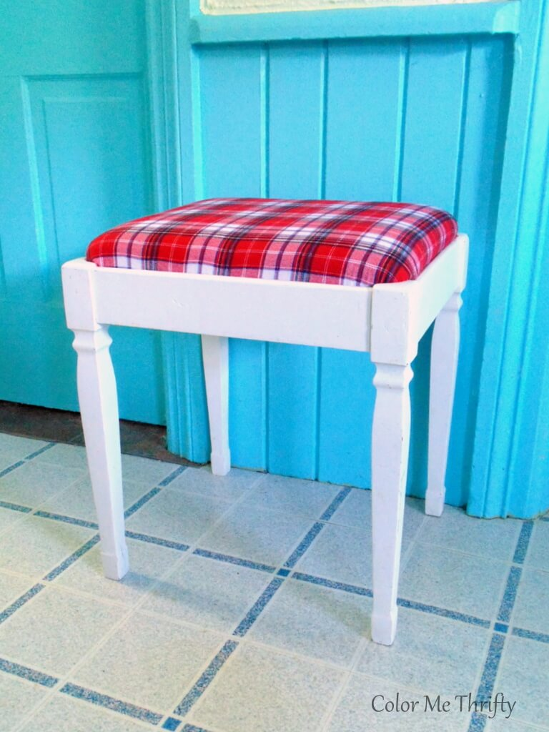 repurposed plaid shirt for bench seat makeover