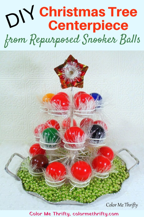 DIY Christmas tree centerpiece with snooker balls and cupcake holder