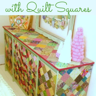 DIY Decoupaged dresser makeover with quilt squares