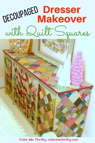 DIY Decoupaged dresser makeover with quilt squares