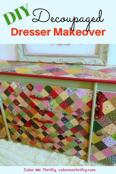 DIY Decoupaged dresser with fabric quilt squares