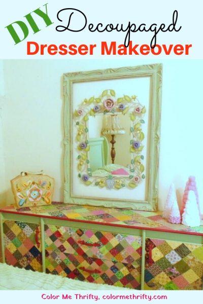 DIY Dresser makeover with decoupaged quilt squares
