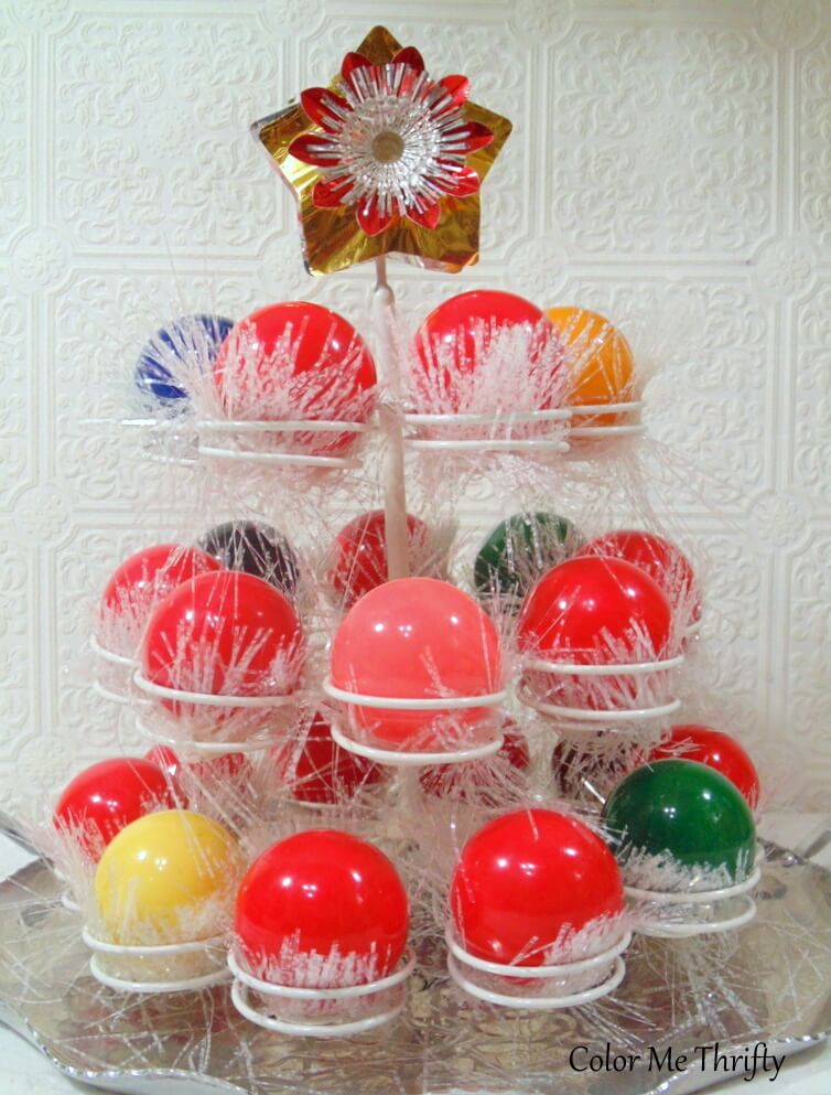 Repurposed cupcake holder Christmas centerpiece with snooker balls