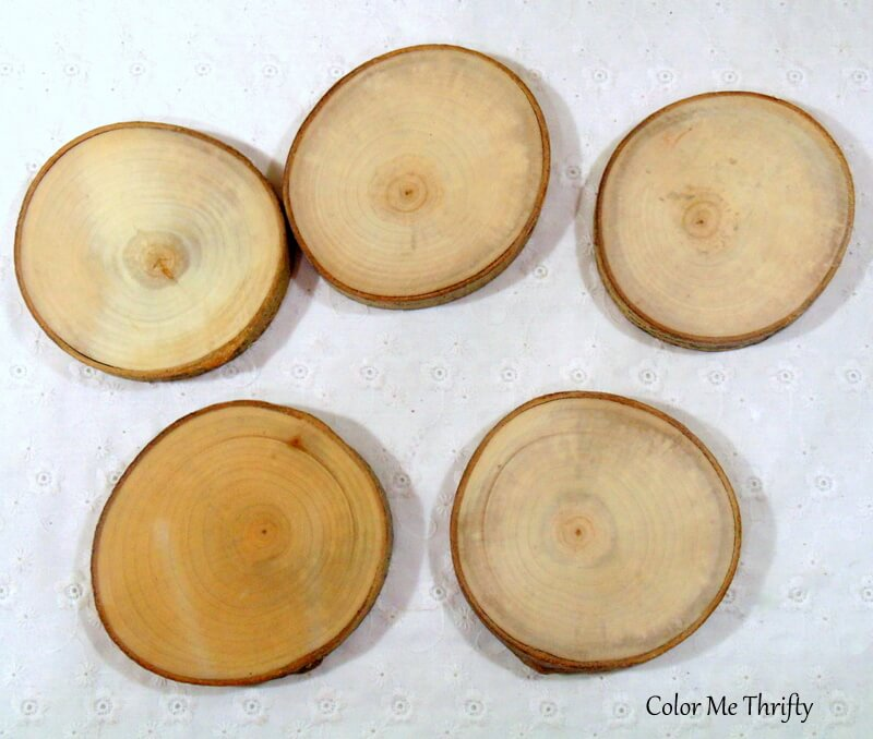 blank bottom of wood slice coasters