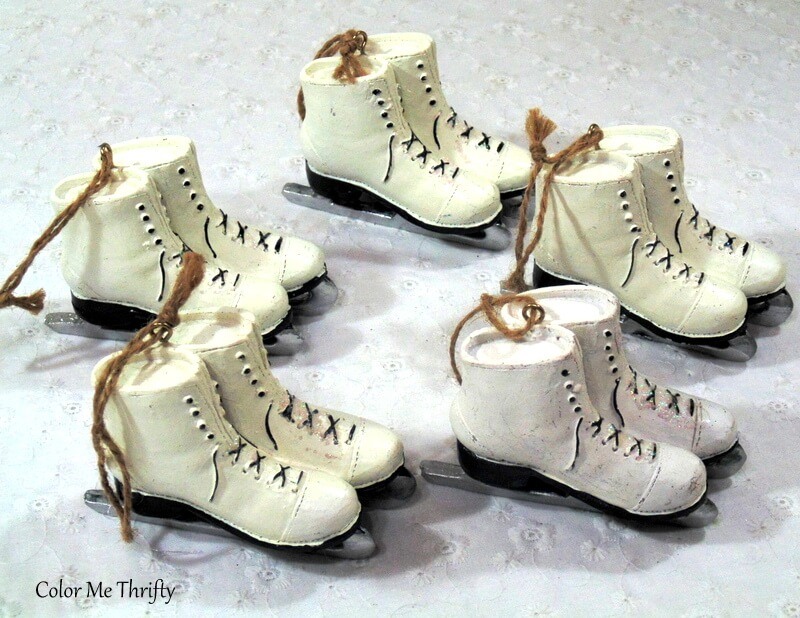 ceramic skates Christmas ornaments
