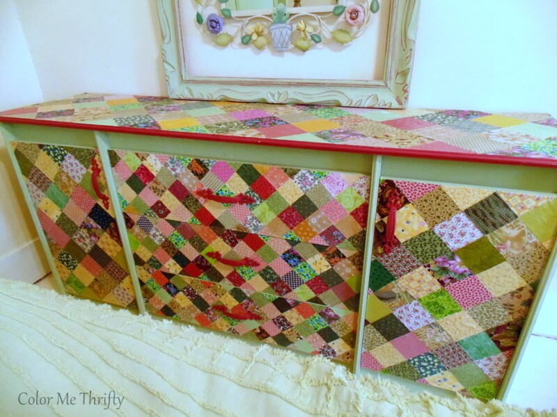 decoupaged dresser makeover with fabric quilt squares after