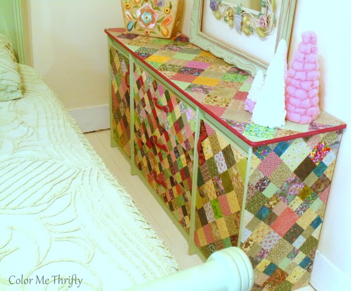 decoupaged dresser with fabric quilt squares 2