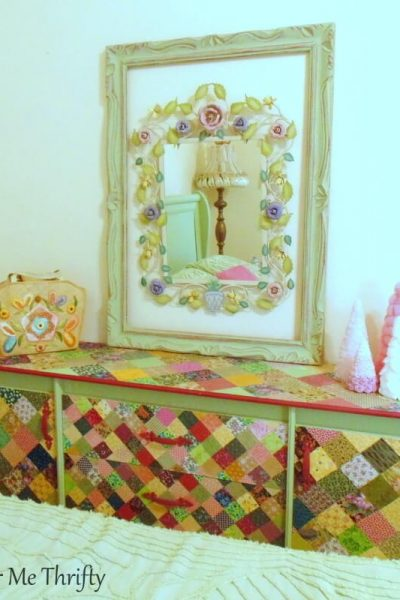 decoupaged dresser with fabric quilt squares 3