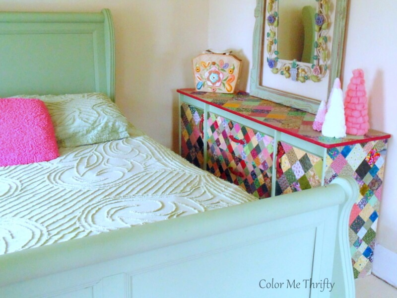 decoupaged dresser with fabric quilt squares