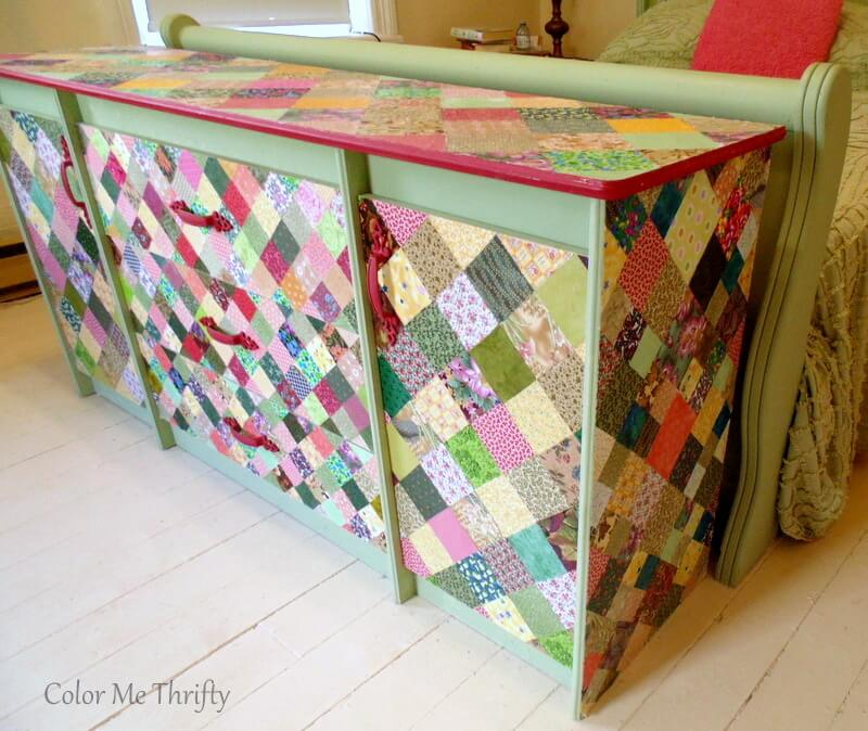 dresser drawers and doors decoupaged with quilt squares 2