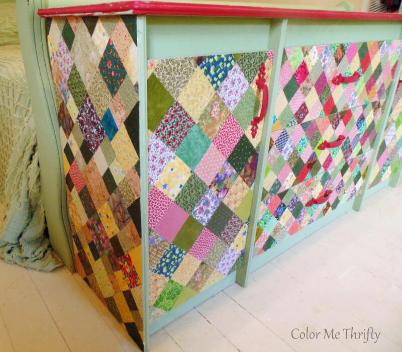 dresser drawers and doors decoupaged with quilt squares 3