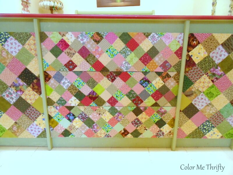 dresser drawers and doors depoupaged with quilt squares
