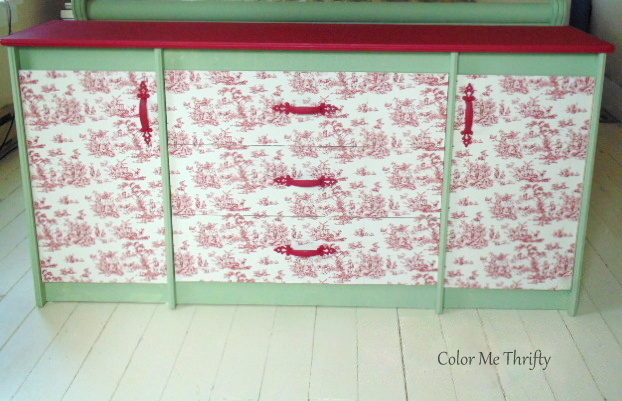funky toile dresser makeover