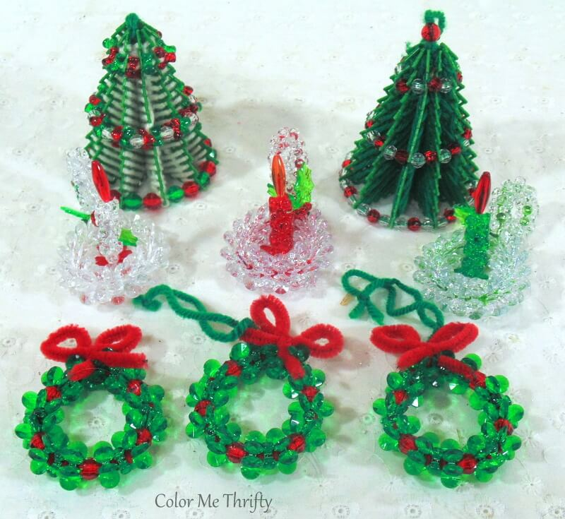 handmade beaded ornament trees, candles holders, and wreaths