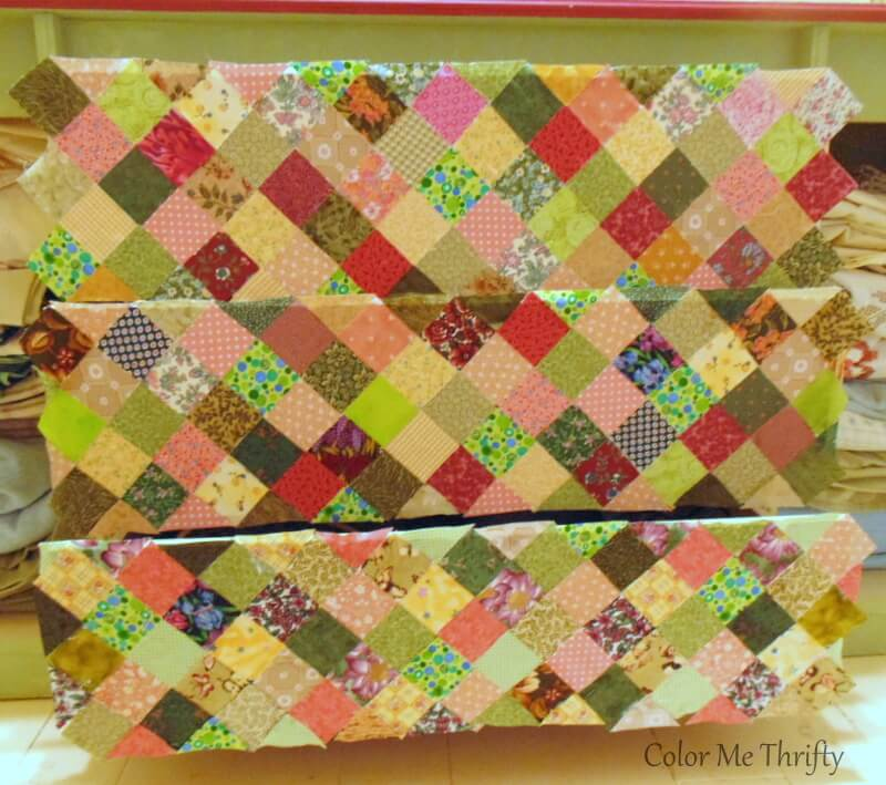 letting fabric quilt squares on dresser drawers dry