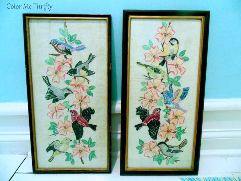 pair of vintage bird and flower needlework pictures in wooden frames