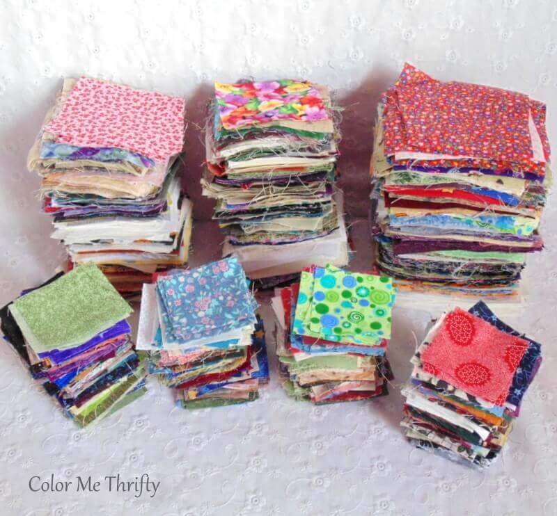 thrifted lot of 2 inch 3 inch and 4 inch fabric quilt squares