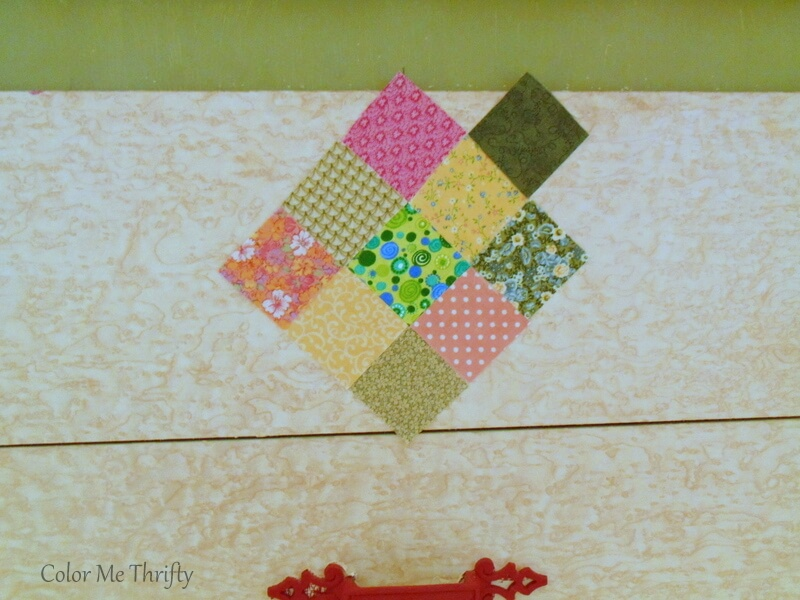 using 2 inch quilt squares for dresser drawers