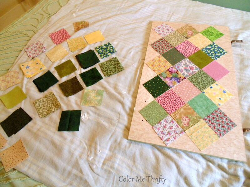using 3 inch quilt squares for dresser doors